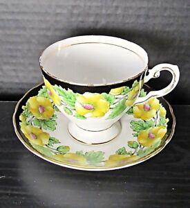 Royal Tuscan Fine China D502 Yellow Flowers,Black & Gold Trim Teacup Set VG Cond