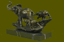 Bronze Sculpture Hand Made Statue Signed Barye Laughing Elephant Symbol of Luck