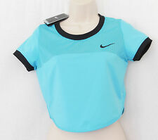 NIKE Omega Blue Premier Crop Mesh Back Short Sleeve Top-Size S-NEW-799102-NWT