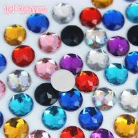 40pcs 14mm Crystal Round Acrylic Rhinestones Flat Back Beads Gem Craft