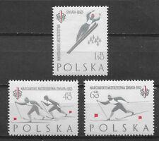 POLAND , 1962 , WORLD SKI CHAMPIONSHIP , SPORTS ,SET OF 3 STAMPS  , MNH
