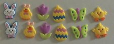 KIDS RUBBER CHARMS SET OF 12 ASST. EGG, CHICK, BUTTERFLY, FLOWER, ETC.  NEW