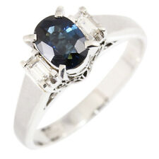 Unbranded PT900 Platinum 0.73ct Sapphire 0.16ct Diamond Ring US6 EU52 E1892