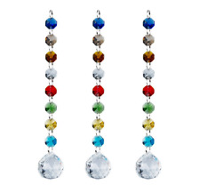 Rainbow Crystal Chakra Suncatcher Chandelier Sparkly Hanging For Home Office 3pc