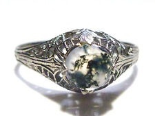 AWESOME 18K WHITE GOLD FILIGREE FLOWER MOSS AGATE NOUVEAU DECO ESTATE RING SZ6.5