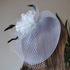 Fascinator Hair Clip Net Veil Feathers Satin Flower Wedding Hair Accessory White