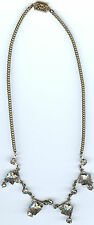 VINTAGE ART DECO CLEAR FACETED GLASS AND DANGLING RHINESTONE CHOKER NECKLACE