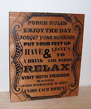 Wood Sign **PORCH RULES** .Laser engraved,Birch.Gift.