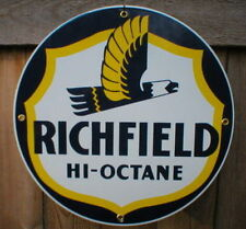 RICHFIELD HI-OCTANE PORCELAIN SIGN METAL OIL GAS SIGNS