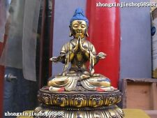 """14"""" Tibet Tibetan Buddhism Bronze gild Bodhisattva Guan-Yin Buddha Statue"""