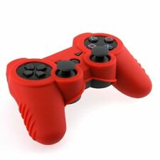 Red Gel Skin Rubber Soft Case Cover Shield For Sony PS3 Controller
