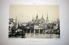"Germany, Hamburg, large lithograph ""View of Harbor"" by A.Durand, 1839-1840, rare"