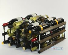 Double depth 30 bottle dark oak stained wood and metal wine rack ready to use