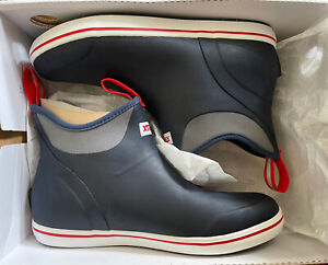 """Xtratuf Men's 6"""" Full Rubber Ankle Deck Boots Navy/Red 22733 Size M10"""
