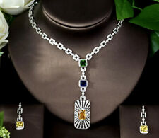 Yellow Citrine & Green Emerald Necklace Earrings Set 18K White Gold Finish