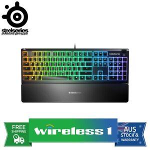 Steelseries Apex 3 OLED RGB Water Resistant Gaming Keyboard - Whisper Quiet S...