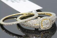 10K YELLOW GOLD .61 CARAT WOMENS REAL DIAMOND ENGAGEMENT RING WEDDING BAND SET