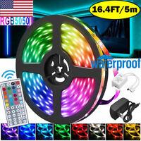 16.4 ft RGB 5050 Led Strip Lights Waterproof SMD 44 Key Remote 12V DC Power Kit
