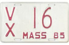 1985 Massachusetts MOTORCYCLE License Plate #16 TWO DIGIT