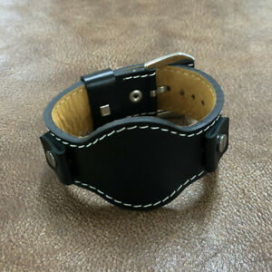 Size 16/18/20/22mm Vintage Military Cow Leather Cuff Wrist Strap Watch Band #100