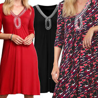 Women's Sizes 8 -26 plus Ladies Stretchy Embellished Dress in Red, Black, Multi