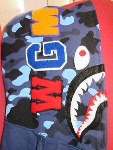 Auth A Bathing Ape Bape Men's Shark 1st Blue Camo WGM Full Zip Hoodie-Medium