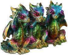 Three Wise Dragons Metallic Rainbow Hear No Evil See No Evil Speak No Evil