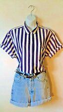 Vtg 90's THE LIMITED Oversized Cotton Blouse / Top S-M Purple & White - Vintage
