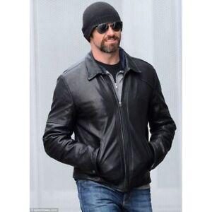 Mens Hugh Jackman Black Biker Motorcycle Bomber Real Soft Leather Jacket