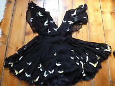 KATE MOSS BLACK BUTTERFLY DRESS LOW V  8-10 TOPSHOP