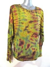 NEW Long Sleeved Batwing Tie Dyed Top Dye Soft Stretch OS