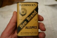 Vintage Mccormicks Bee Brand Allspice Tin No. 90 2 Oz. Baltimore Md.