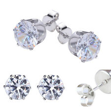 Stainless Steel Round Womens Stud Earrings Cubic Zirconia Inlaid 3-8mm 6pairs WK