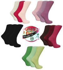 3 Pairs Ladies STAY-UP Diabetic 99%25 Cotton Socks,Various Colours, UK Size 4-8
