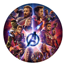 Avengers Infinity War Edible Birthday Cake Icing Topper Decoration Round Image