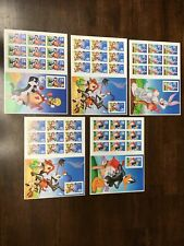 Looney Tunes 5 Sheets Bugs, Tweety, Daffy, 2 Wile E Coyote postage stamps