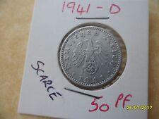 German 50 Reichspfennig 1941-D Third Reich Aluminium Coin WW2 pf