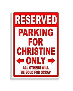 Personalized Parking Sign Wall Decal Metal Sign No Parking Customized Christine