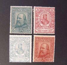 """ITALIA, ITALY REGNO 1910 """" 50° Risorgimento.Effigie Garibaldi"""" 4V. Cpl set MH*"""