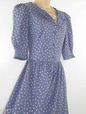 LAURA ASHLEY VINTAGE CHAMBRAY BLUE POLKA DOT COTTON LAWN SUMMER DRESS, 8/10