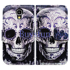 Bcov Cool Floral Skull Leather Wallet Case for Samsung Galaxy S4 GS4 i9500