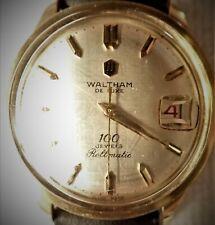 WALTHAM DE LUXE 100 Jewels Centennial ROLLMATIC CYCLOTRON w/Date c.1970s Swiss