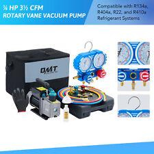 Omt Combo 35cfm 14hp Air Vacuum Pump Hvac R134a Kit Ac Ac Manifold Gauge Set