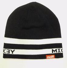 Neff Snowboarding Mickey Mouse Slouch Fold Beanie Hat Cap Black White New NWT