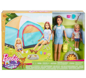 Barbie Camping Fun New Genuine Campfire Tent Chairs Cups Lamp Damaged Boxes 🇬🇧