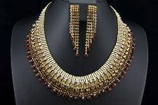 Brown Crystal Rhinestone Chandelier Earring Necklace Wedding Prom Bridal Jewelry