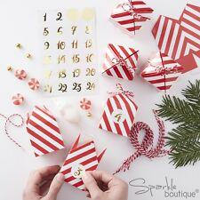 Remplir vos propres ADVENT CALENDAR Box Kit-Rouge & Blanc Rayures/Or Autocollants-Noël