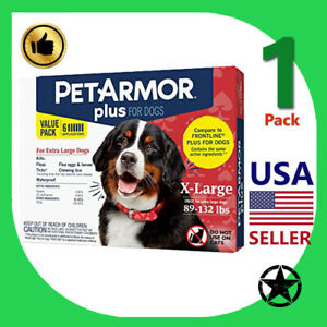1 Pack PETARMOR Plus Flea and Tick Prevention for Extra Large Dogs 89-132 lbs 6
