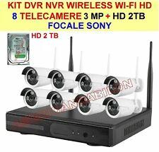KIT VIDEOSORVEGLIANZA NVR WIRELESS WIFI 8 CANALI 3MP SONY TELECAMERE HD+HD 2TB
