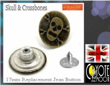 Rivets Fastener Stud Buttons Sewing Denim Jeans Replacement 17mm Skull UK Seller